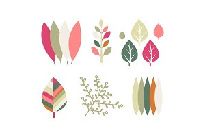 Flat vector set of colorful leaves