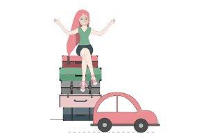 Happy traveler woman sitting on
