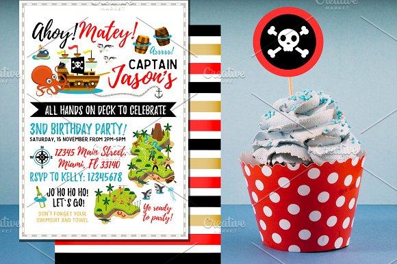 pirate birthday invitation invitation templates creative market