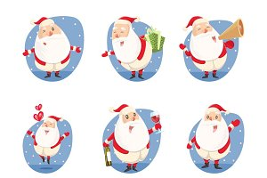 Illustration Of Cute Santa Set