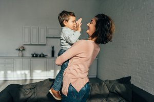 Woman and her son at home