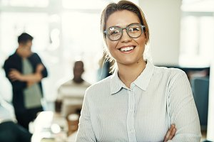 Smiling businesswoman in an office w