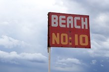 Red beach number 10 sign