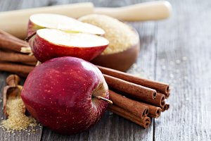 Apples, sugar and cinnamon