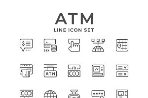 Set line icons of ATM