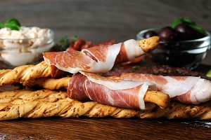 antipasto platter on wooden surface