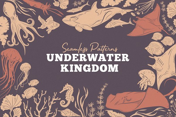 Graphics: Pixelbuddha - Underwater Kingdom Vector Patterns