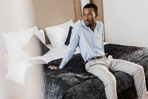 handsome african american man sittin