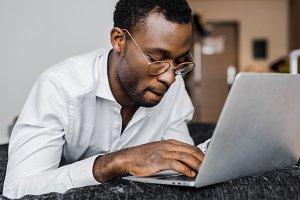 focused african american businessman