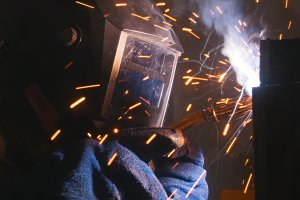 Industrial exposition. A welder