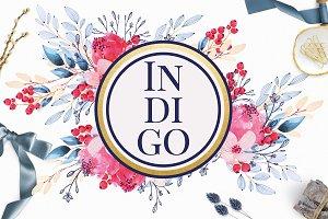 Indigo Watercolor Floral Clip Art