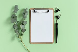 Clipboard and eucalyptus branch