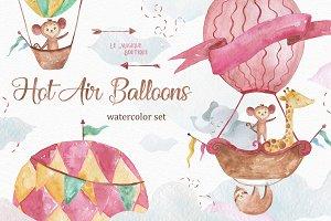 Hot Air Balloons Watercolor Clipart
