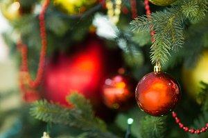 Christmas toys hanging on the Christ