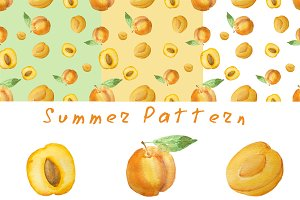 Seamless pattern with apricots