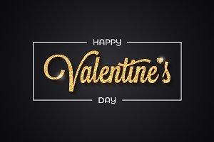 Valentines day golden banner.
