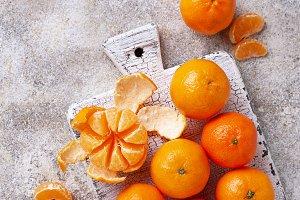 Fresh ripe tangerines on light
