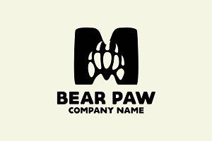 Bear Paw M Letter Logo