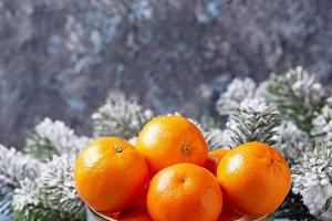 Fresh ripe tangerines in bowl