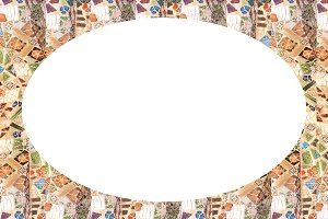 White Frame Background with Mosaic R