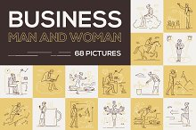 Set of business people in line style by  in Illustrations