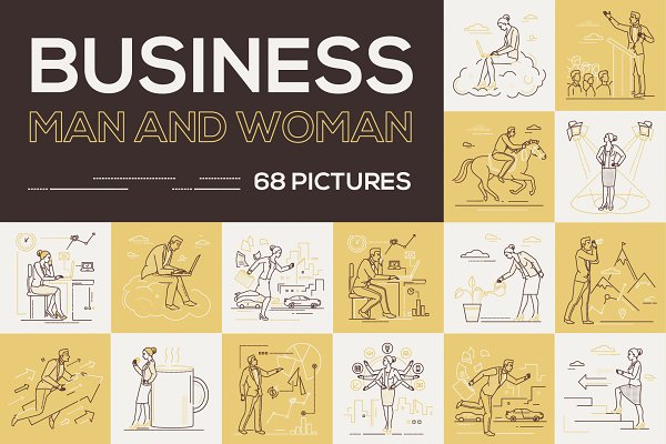 Illustrations and Illustration Products: Boyko Pictures - Set of business people in line style
