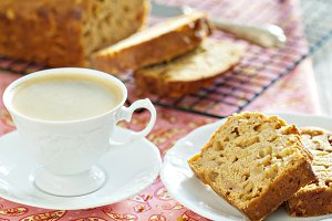 Coffee with apple pound cake