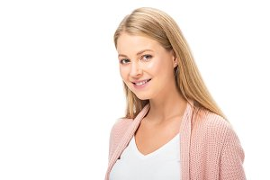 happy smiling woman in pink cardigan