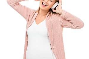 happy pregnant woman dancing with he