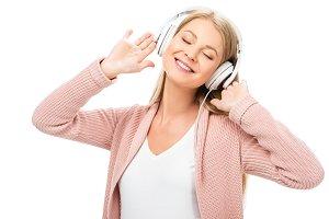 woman enjoying music, using headphon