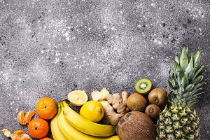 Assortment of fruits, arranged in
