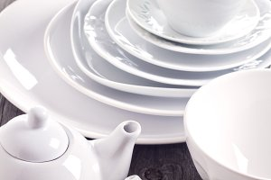 Variety of white dinnerware