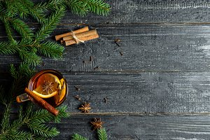 Mulled wine close-up on wooden table