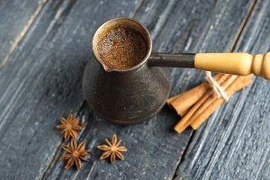 Turk brewed black coffee on a wooden