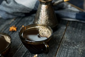 Turkish coffee freshly brewed with c
