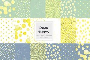 Lemon Dreams Watercolor Patterns