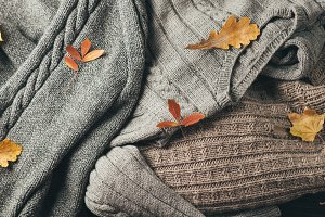 Background with warm sweaters. Top v