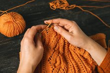 Close-up of hands knitting by  in Beauty & Fashion