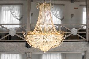 A shiny big beautiful chandelier in