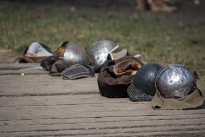 Line of helms from historical armor