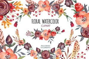 Floral,boho clipart, wreath,flowers