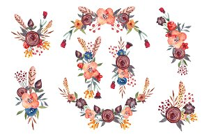 Floral,boho clipart, wreath,flowers
