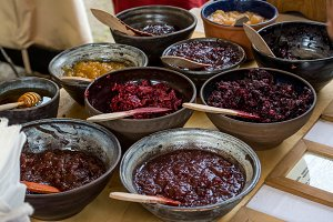 Homemade jams in clay dishes