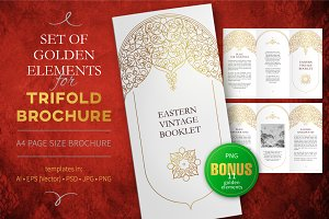 3.Gold Elements For Trifold Brochure