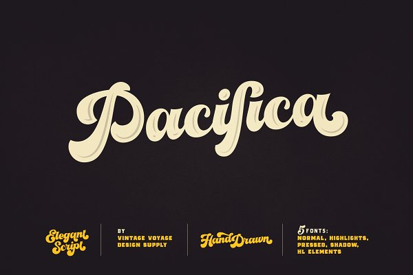 Script Fonts: Vintage Voyage Design Co. - VVDS Pacifica