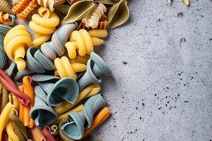 Assorted colorful italian pasta