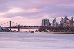 Manhattan and Brooklyn bridges view