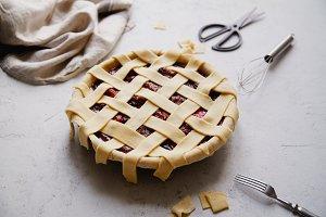 Uncooked berry pie with a lattice de