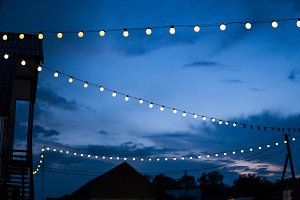 Row of hanging summer terrace lights