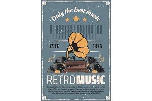 Retro music vintage vinyl gramophone